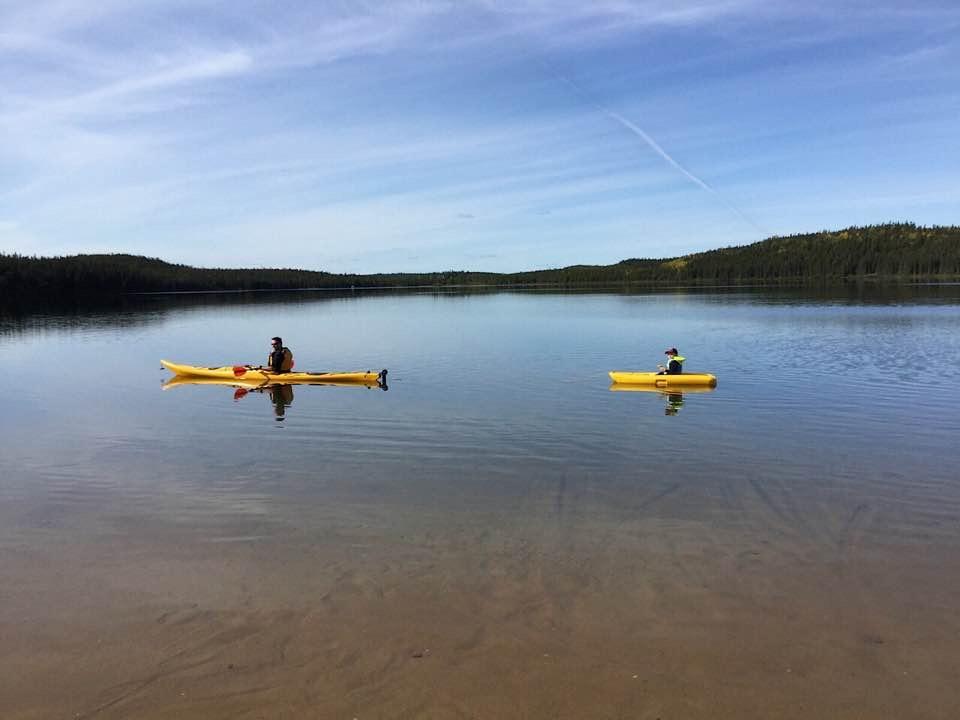 Kyle McFadyen -Gemmel Lake, Northern Manitoba near Lynn Lake. -Helping the little guy keep up by pulling him along
