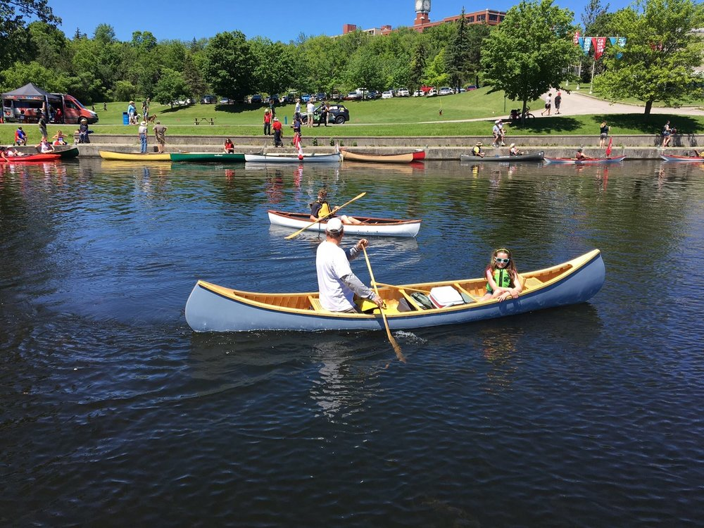 A Clout - Paddling my Tom Thomson replica I built at the 150 event at the loft locks