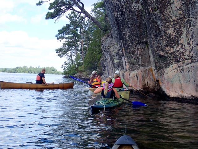 Dee Helseth - Checking out the pictographs on Burditt (Clearwater) Lake NW Ontario