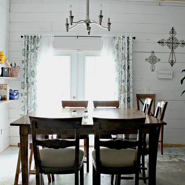 Whether our dining room is lit up by the mid morning sun, (this morning) or whether the clouds cast moody shadows in here, I'm grateful. #shiplap