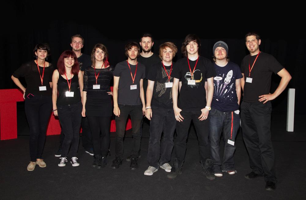 Nathan (far right) and the student volenteer team at TEDxSalford 2.0 at The Lowry