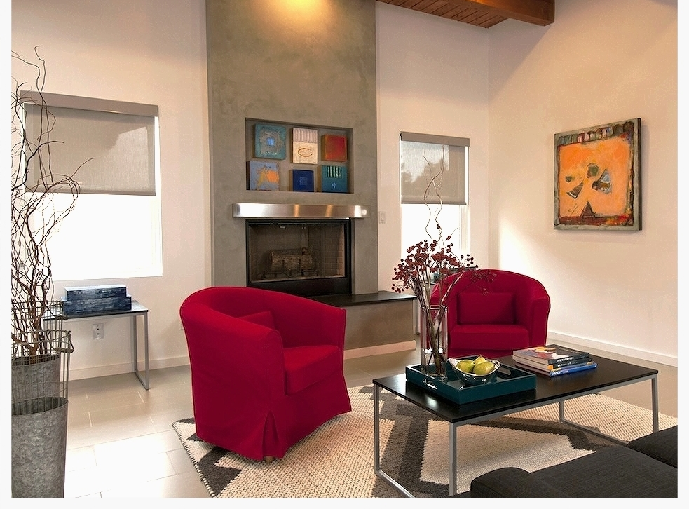 Contemporary Santa Fe Style Interiors by Jennifer Ashton Interiors, Mantel Artworks by Enrico Embroli and Encaustic Wall Art by Jaqueline Butler - Photo by Laurie Allegretti