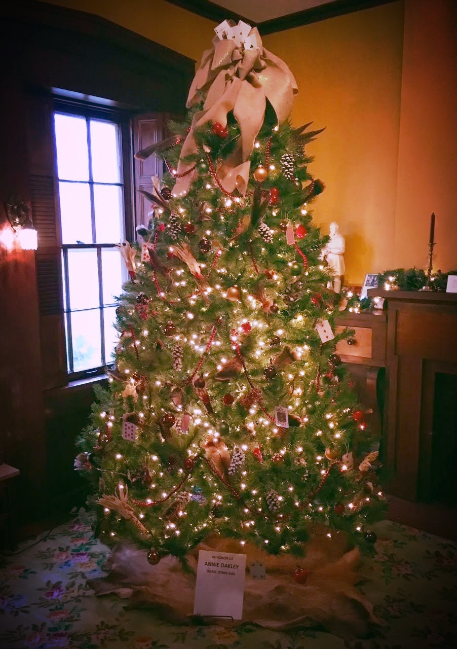 Christmas tree decorated by The Wildflower Garden Club located in the Garst Museum's parlor.