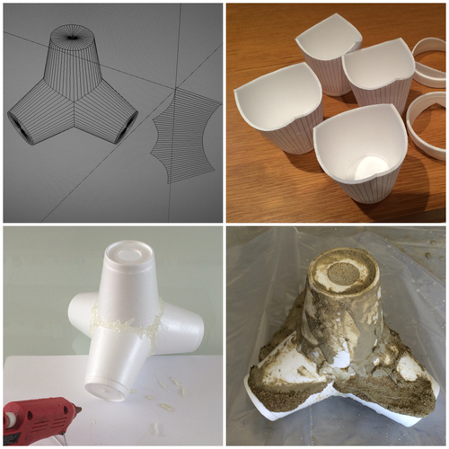 Generated a flat pattern in the computer and used styrofoam cups for the  mold.