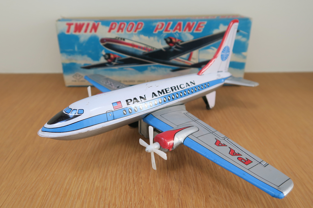 Twin Prop Plane - Pan Am - 1960's T.T (Takatoku) - Made in Japan