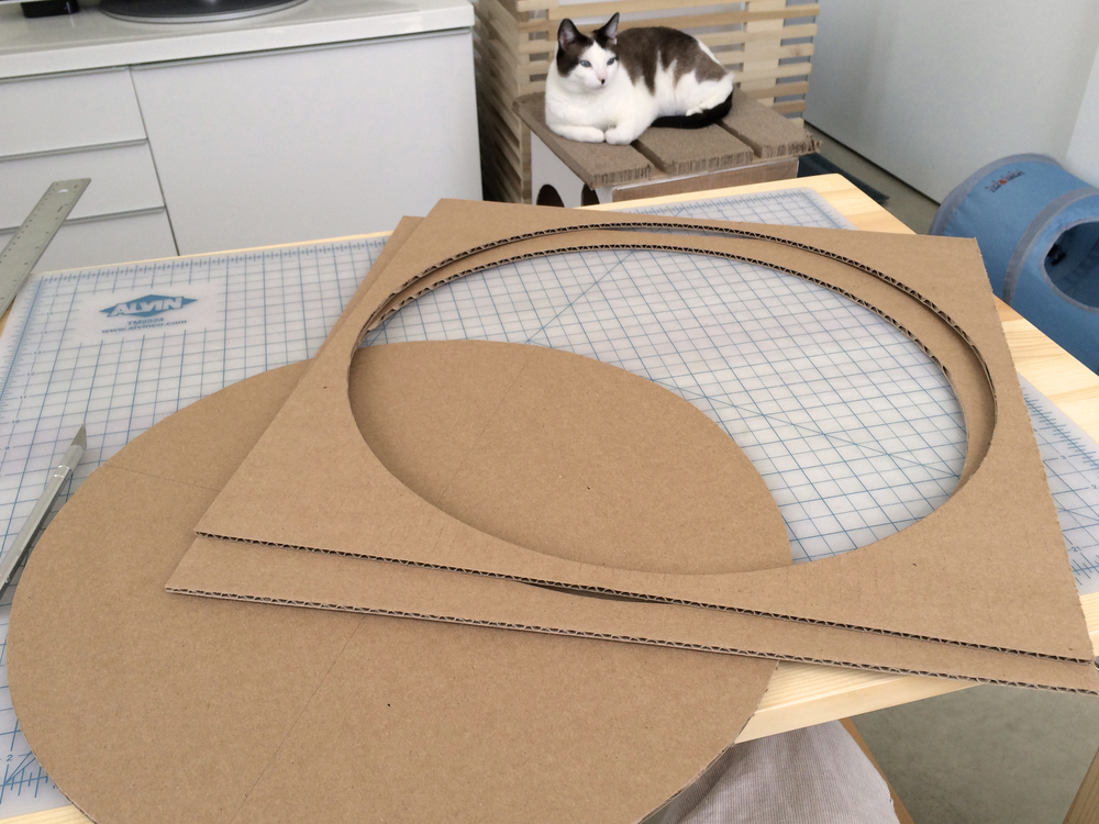 Modern Cardboard Cat Scratcher Bed - Use a beam compass to make circle and cut out.