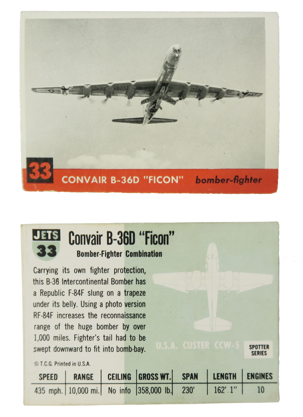 "Convair B-36D ""Ficon"" #33  Series: Jets Manufacture: Topps Chewing Gum Card Dimensions: 2.937 x 2.062 inches USA -1952"