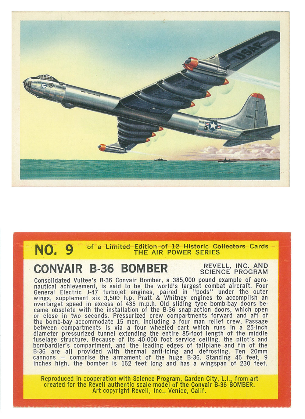 "Convair B-36 Bomber  Series: The Air Power Series Manufacture: Revell Inc. Card Dimensions: 3.95"" × 2.50"" USA -1961"