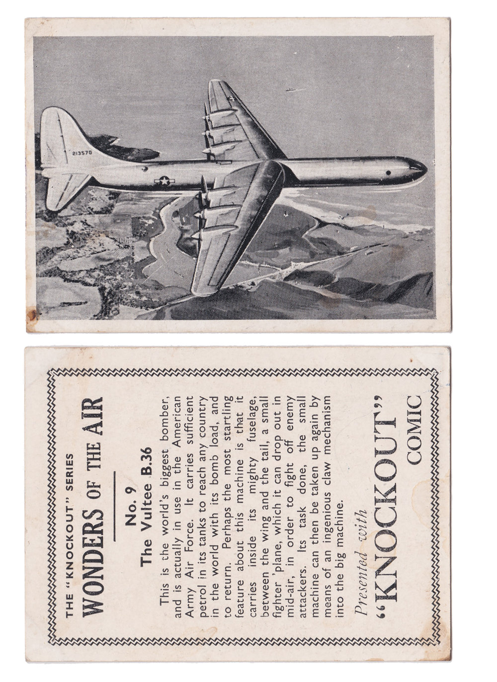 "No. 9 The Vultee B.36  Series: Wonders of the Air Manufacture: Knockout Comic Card Dimensions: 3.75"" x 2.75"" United Kingdom - 19XX"