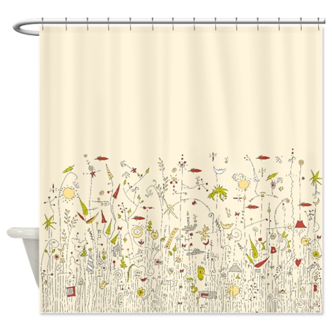 Our new shower curtain, courtesy of the folks at Cafe Press and my sketchbook.