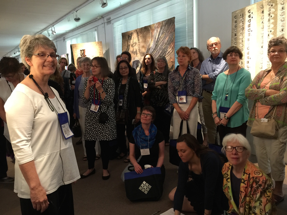Getting ready to tell the story of my piece, Insomnia: His and Hers at the Quilt National opening. Gathered round me are some of the luminaries in the art quilt world. What could be better than this?