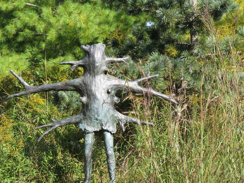This sculpture by Laura Ford hides in tall grasses and pine trees at the Meijer Gardens in Grand Rapids, Michigan. I would go back there tomorrow to see this sculpture garden again.
