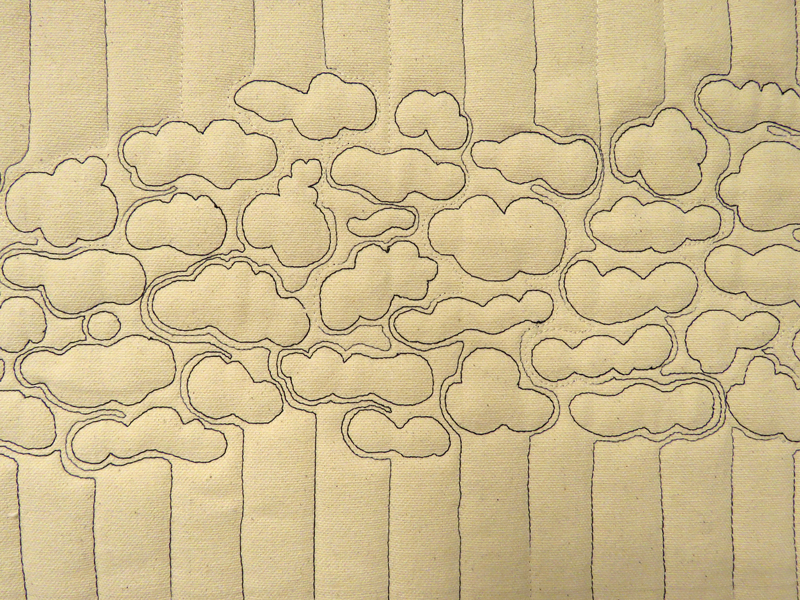 Cloud cover , detail. I am using a cotton canvas in these studies. The variegated black to white thread appears and disappears with the stitching. Forcing me to give up control unless I want to make myself crazy. The stiffness of the canvas really helps tame wrinkles.