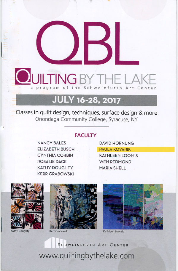 Join me July 16-21, 2017 at the Schweinfurth Art Center for a 5-day workshop called Follow the Thread. Learn more at the Quilting by the Lake website.