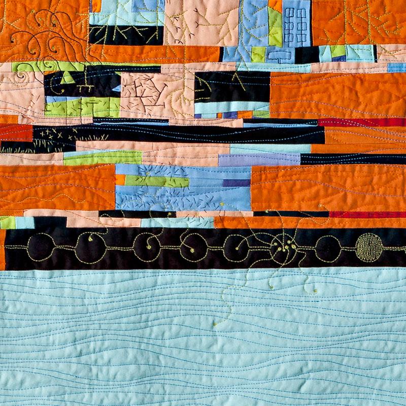 detail of hand and machine stitching