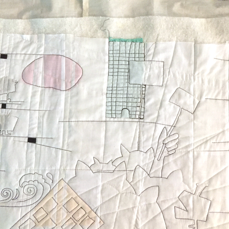At this stage I decided that the piece was going to be about my anxieties regarding our government and how the media hypes up my anxiety. This initial stitching was about the pussy hat march.