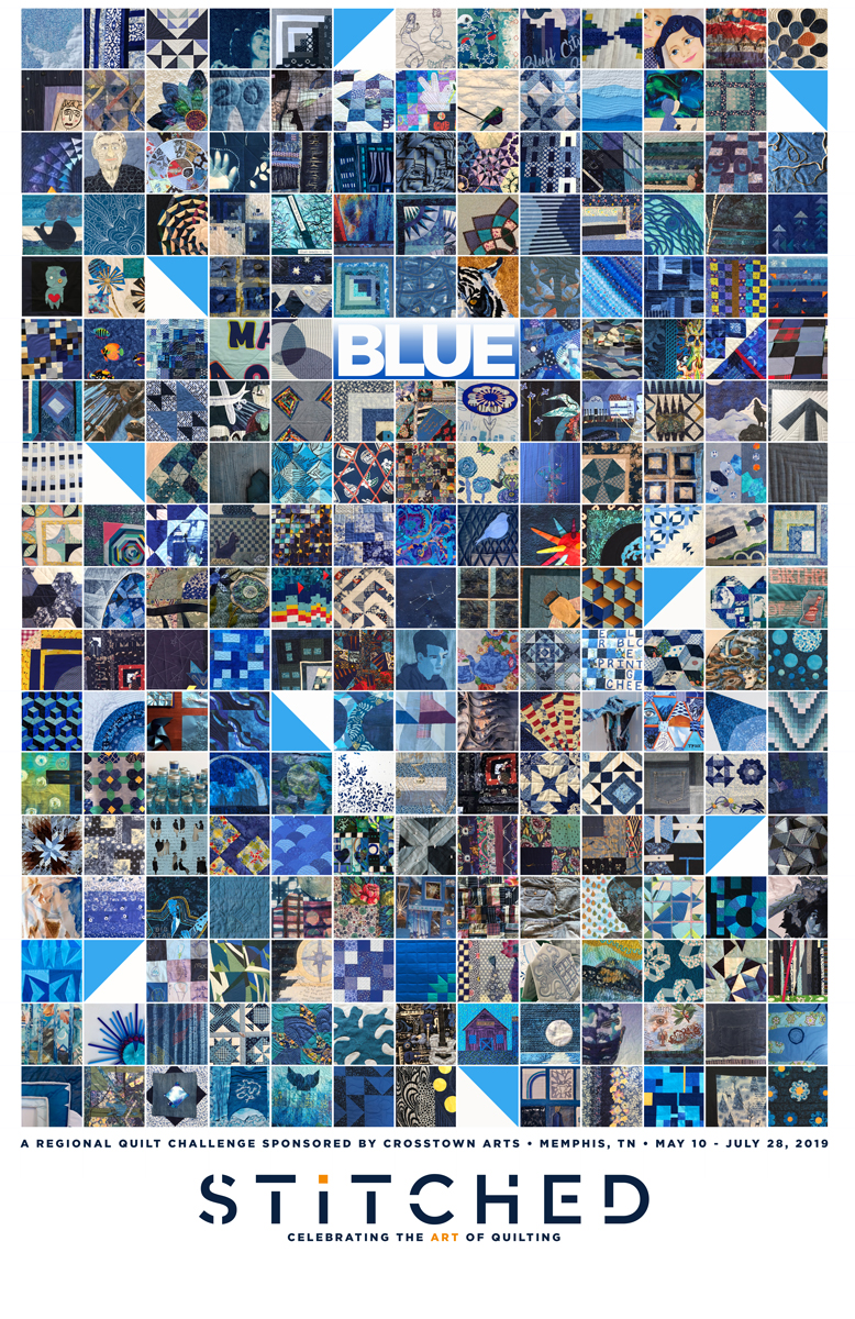 "The BLUE show is a regional quilt challenge sponsored by Crosstown Arts. We asked artists, quilters and makers of all sorts to create quilts that are three layers, stitched, 24"" x 24"" and predominantly blue. Over 180 people responded with 230 quilts."