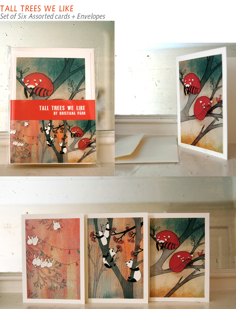 tall trees we like - set of six blank note cards made of 100% cotton and recycled envelopes.