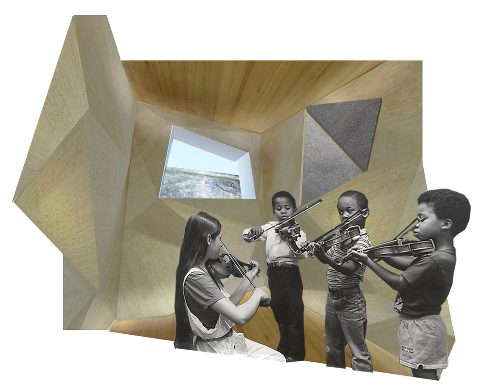 practice rooms designed for acoustics with faceted walls that fold out to reveal sound-dampening felt.  lighting incorporated behind top and base of wall to wash down felt