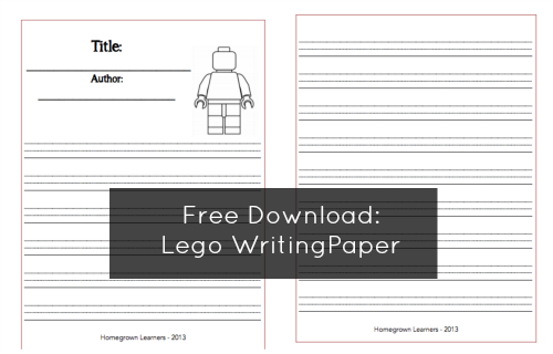 Writing LEGO Stories Free Writing Paper Download Homegrown
