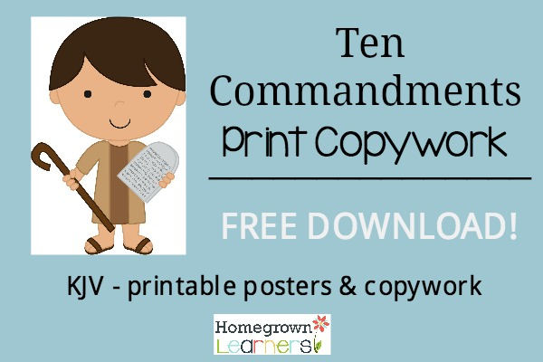 Free Ten Commandments Print Copywork Download