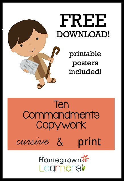 Free 10 Commandments Copywork Download - Print & Curisve
