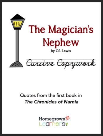 Free Cursive Copywork for The Magician's Nephew