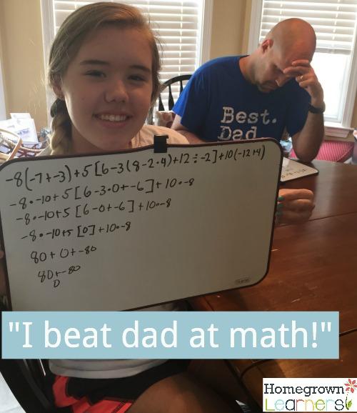 I beat dad at math!