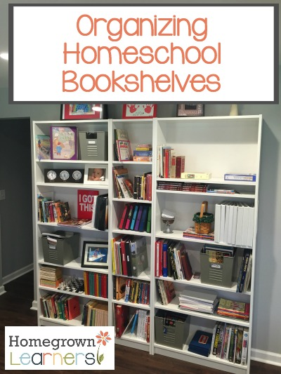 Organizing Homeschool Bookshelves