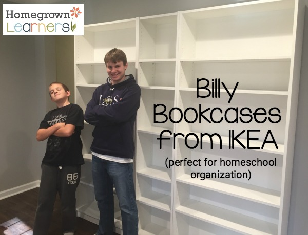 Billy Bookcases from IKEA for homeschool storage