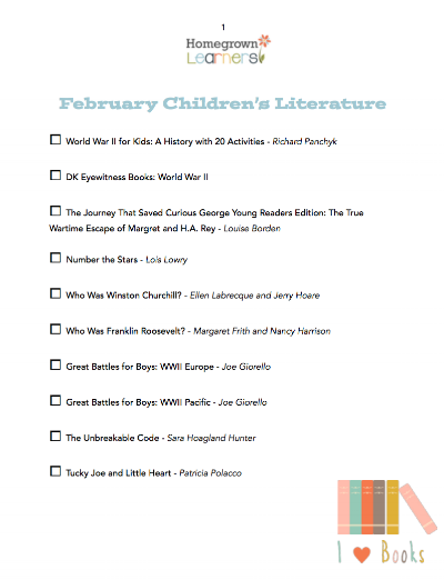Printable Children's Literature List for February from Homegrown Learners