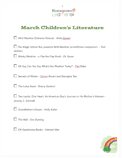 Children's Printable Book List for March