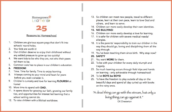 25 Reasons to Homeschool: Free Printable