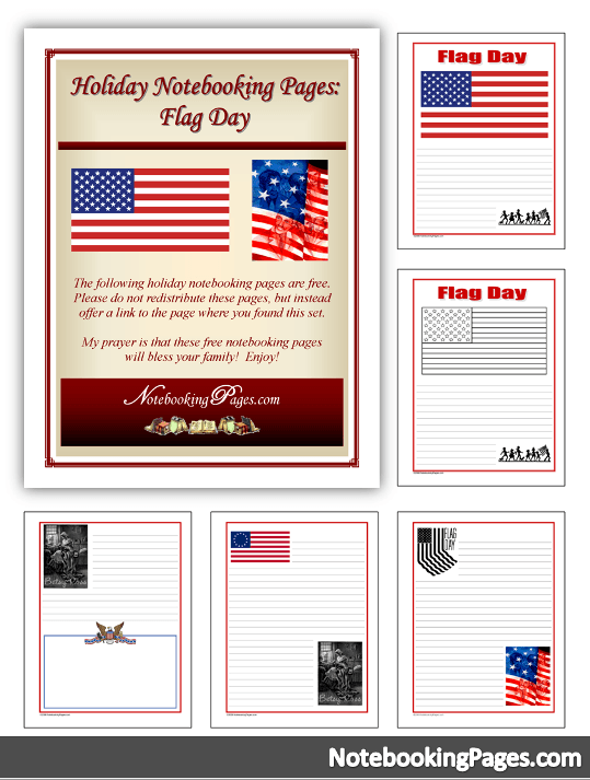 Free Flag Day Notebooking Pages