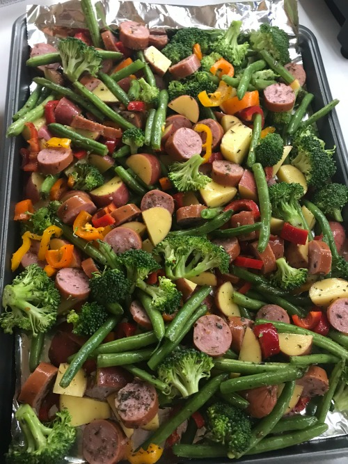 Sheet Pan Roasted Veggies & Sausage