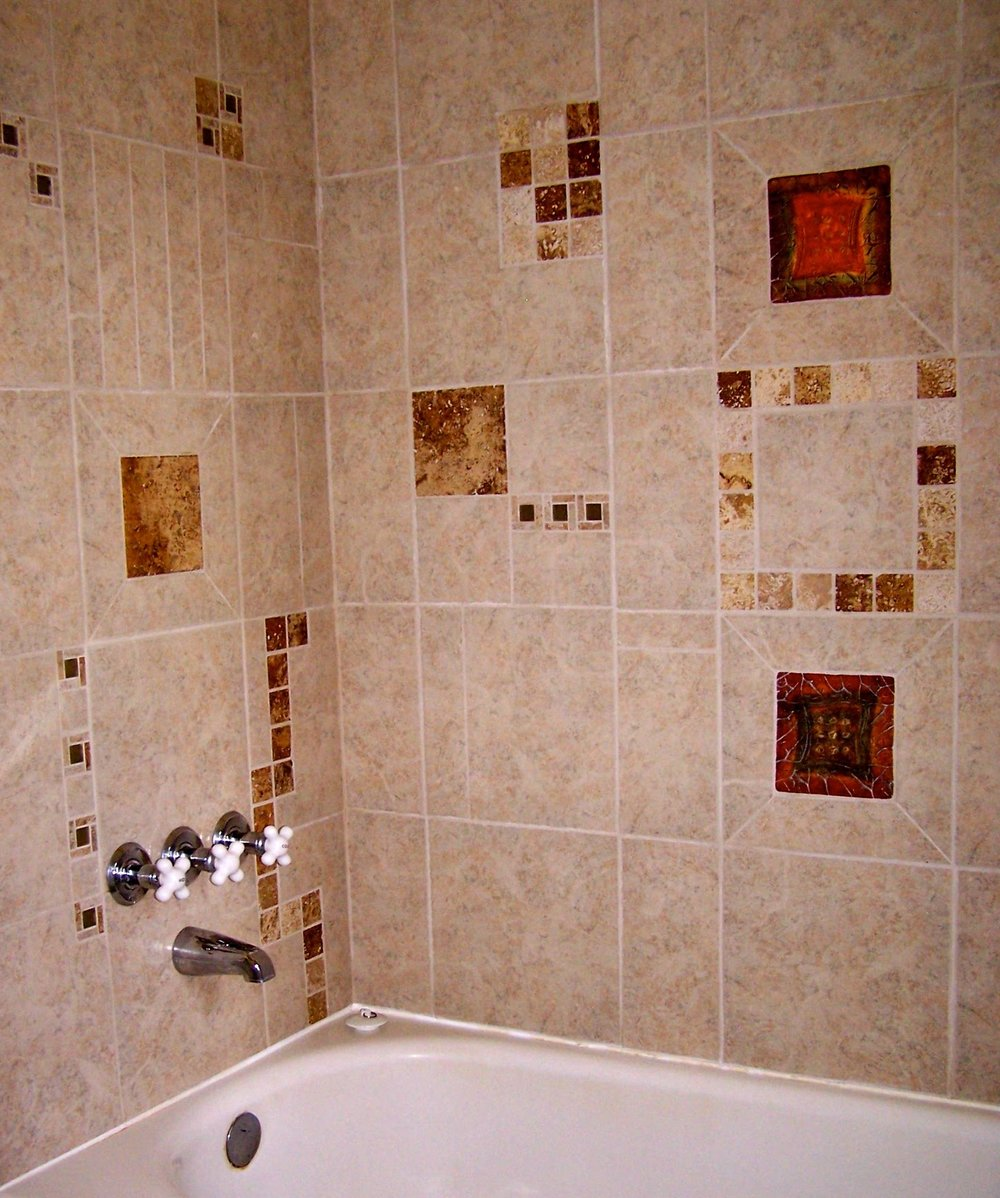 "Shower and bathtub, tile work by your ""Trail Boss"" Patricia."