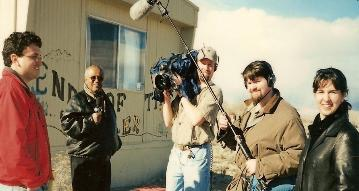 BIFF HENDERSON FROM THE DAVID LETTERMAN SHOW, ALONG WITH CAMERA MAN, SOUND MAN, PRODUCER AND DIRECTION AT END OF THE TRAIL...ER IN 1999.