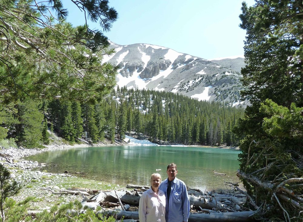 guests jane and dennis from the sea ranch, california, at Teresa Lake, great basin national park June 7, 2018
