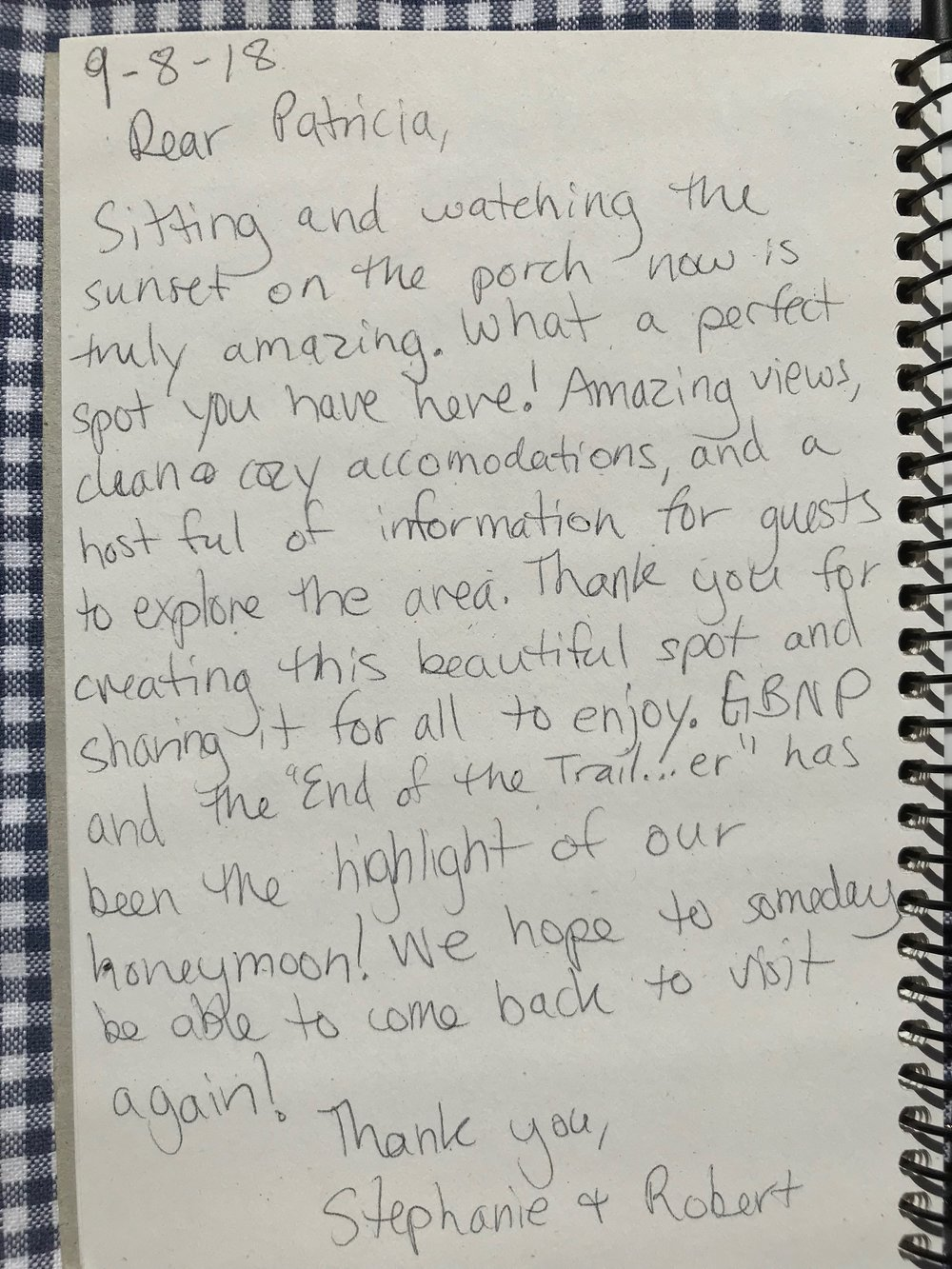 Page from the trail...er's guest book