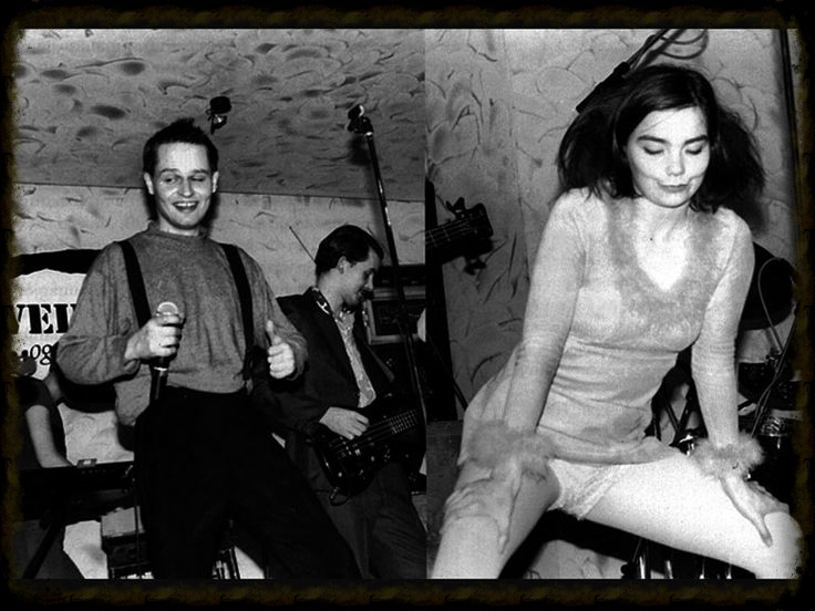 The Sugarcubes & lead singer Bjork in an odd pose to say the least...
