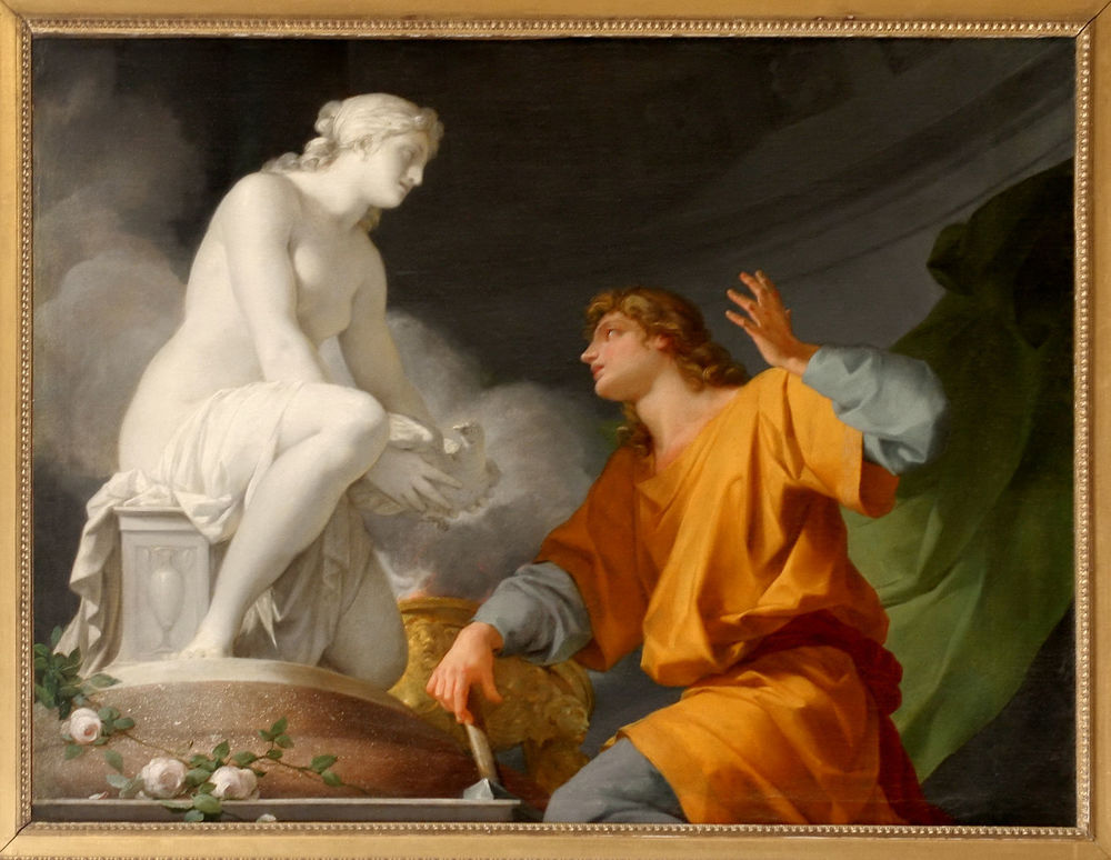 Pygmalion begs Venus to make his sculpture come alive.