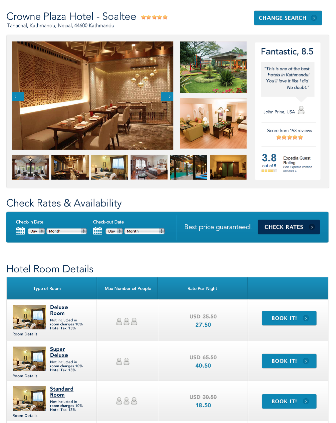Hotel search results page.