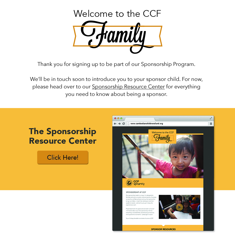 The confirmation email that leads sponsors to a Resource Center, a website platform designed specifically for new sponsors to find resources and answers to questions they have.