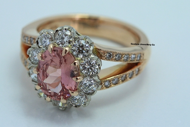 Padparascha Sapphire, Diamond and Rose Gold Engagement Ring 1