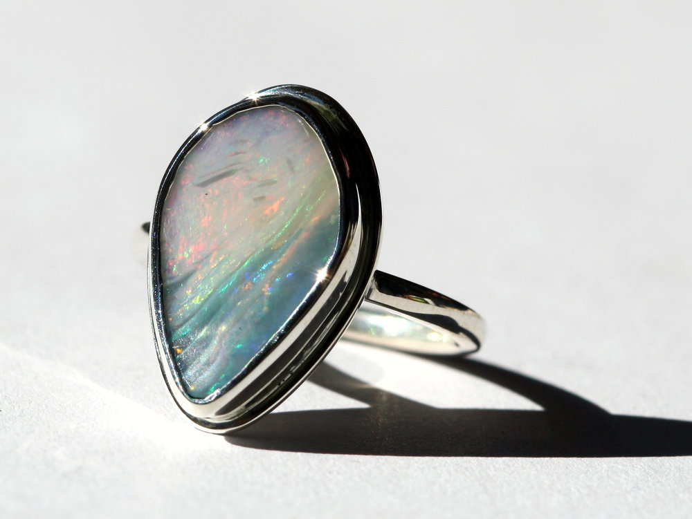 Teardrop Wave Opal Silver Ring1.jpg