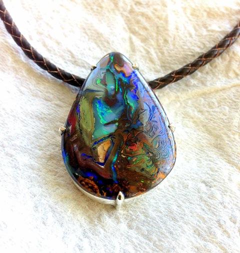 Boulder Opal Matrix Silver Pendant (6).jpg