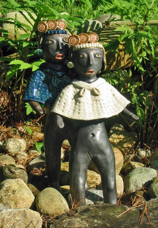 """Sisters--Earth and Air. Kiln fired clay from the Maya project. 15x8x4"""""""