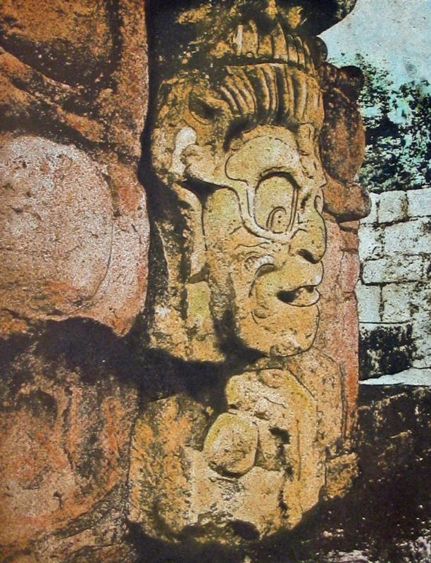 "Kinichi Ahua, Copan, Honduras. Gumoil print from the Maya project. 14x11"""