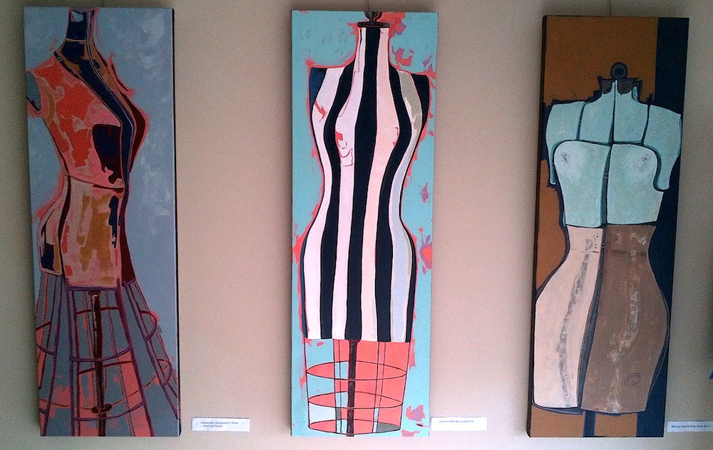 Three dress makers forms on display at the Mississippi Mills New Town Hall gallery