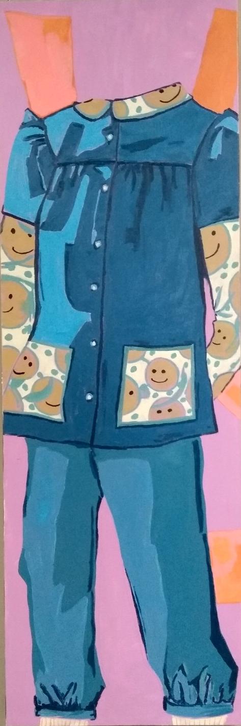 Denim pantsuit & smileys